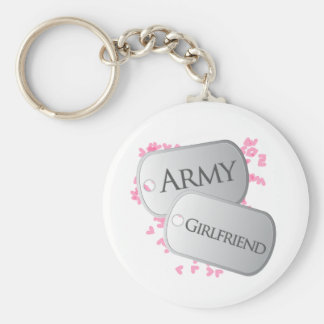 Army Girlfriend Dog Tags Basic Round Button Key Ring