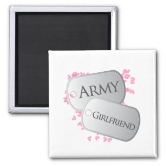 Army Girlfriend Dog Tags Square Magnet