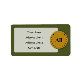 Army green monogram design address label
