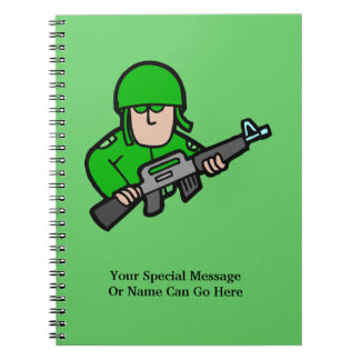 Army Military Soldier Camo Green Designer Art Spiral Note Books