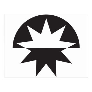Art Deco Black and White Star Sunburst Postcard