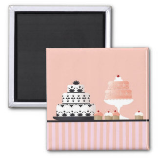 Art Deco Cakes on Striped Tablecloth Square Magnet