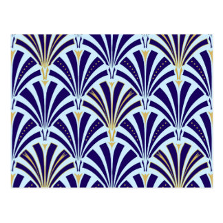 Art Deco fan pattern - cobalt and sky blue Postcard