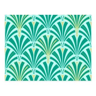 Art Deco fan pattern - turquoise on aqua Postcard