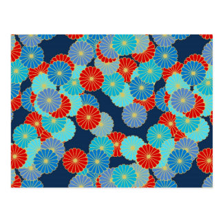 Art Deco flower pattern - blue, turquoise and red Postcard