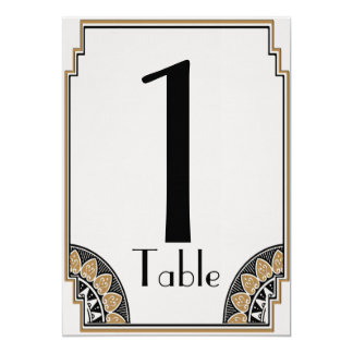 Art Deco Gold Posh Table Number 13 Cm X 18 Cm Invitation Card