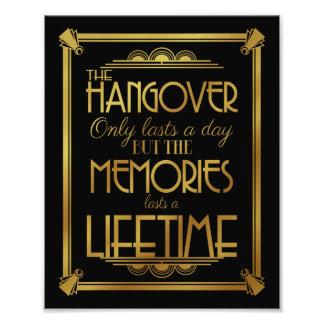 Art deco hangover party sign wedding sign, gold photo print