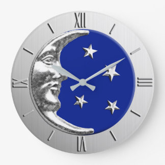 Art Deco Moon and Stars - Cobalt Blue and Silver Clock