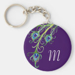 Art Deco Nouveau Style Peacock Feathers Swirl Basic Round Button Key Ring