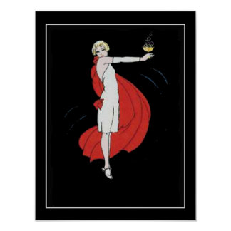 Art Deco Party Girl Vintage Poster