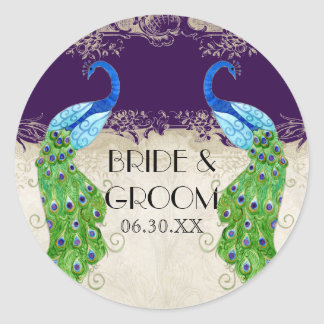 Art Deco Peacock Favor Gift Tags Seal Dark Purple Round Sticker