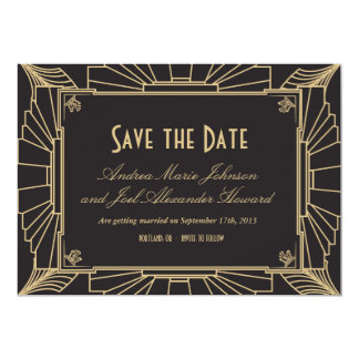 Art Deco Save the Date by Origami Prints 13 Cm X 18 Cm Invitation Card