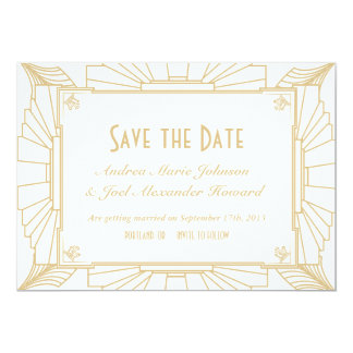 Art Deco Style Wedding Save the Date 13 Cm X 18 Cm Invitation Card