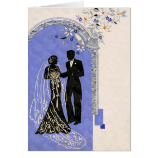 Art Deco ~ Vintage Wedding Card ~ Silhouettes
