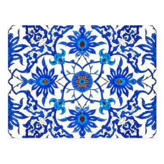 Art Nouveau Chinese Tile - Cobalt Blue & White Postcard