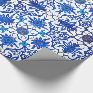 Art Nouveau Chinese Tile - Cobalt Blue & White Wrapping Paper