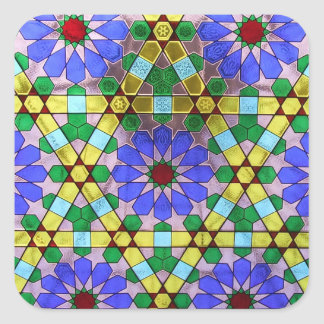 Art Nouveau Geometric Stained Glass Window Square Sticker