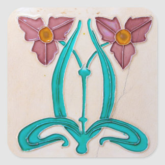 Art Nouveau Majolica Tile Square Sticker