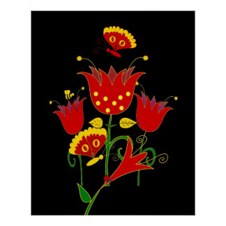 Art Poster Red Forrest Flowers