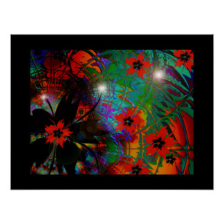 Art Poster Tropical Flowers