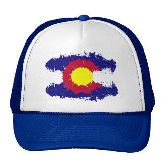Artistic Colorado flag paint splatter trucker hat