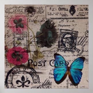 Artistic vintage postmark poppy flower Paris chic Poster