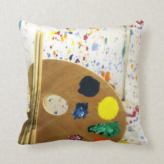 Artists Paint Splatter And Pallet of Paint Throw Cushions