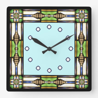Arts and Crafts Glass Style Wall Clock