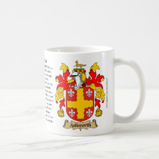 Ashworth, the Origin, the Meaning and the Crest Basic White Mug
