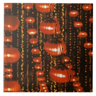 Asia, China, Beijing. Red Chinese lanterns, Large Square Tile