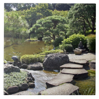 Asia, Japan, Tokyo. The Japanese Garden at the Large Square Tile