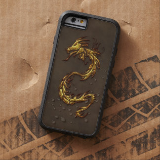 Asian Tribal Gold Dragon & Faux-Leather Tough Xtreme iPhone 6 Case