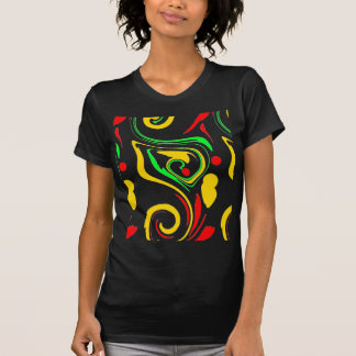 Astract swirling design, red yellow and green tee shirt