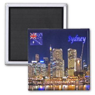 AU - Australia - Sydney - Darling Harbour by Night Square Magnet