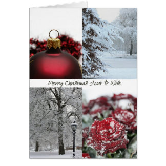 Aunt & Wife Christmas Red Winter collage Greeting Card