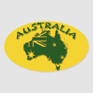 Australia green and gold oval sticker