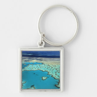 Australia - Queensland - Great Barrier Reef. 3 Silver-Colored Square Key Ring