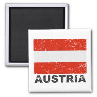 Austria Vintage Flag Square Magnet