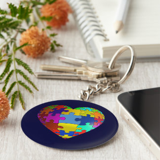 Autism Awareness Puzzle Heart Basic Round Button Key Ring