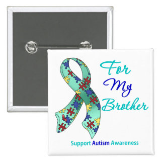 Autism Support For My Brother 15 Cm Square Badge