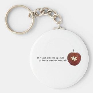 Autism Teacher Basic Round Button Key Ring