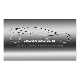 Auto Sales, Luxury Silver Sportscar, steel-effect Pack Of Standard Business Cards