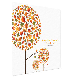 Autumn Fall Leaves Pop Tree Family Canvas Print