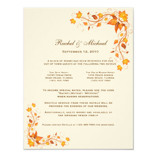 Autumn Foliage Wedding Accomodations Card 11 Cm X 14 Cm Invitation Card