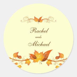 Autumn Foliage Wedding Envelope Seals Round Sticker