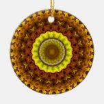 Autumn Leaves Kaleidoscope Mandala Round Ceramic Decoration