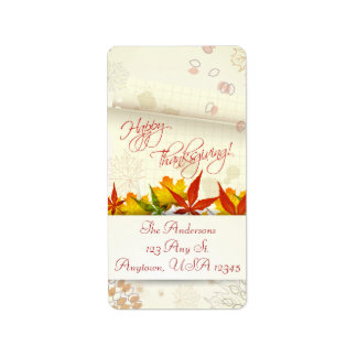 Autumn Leaves Thanksgiving Address Label