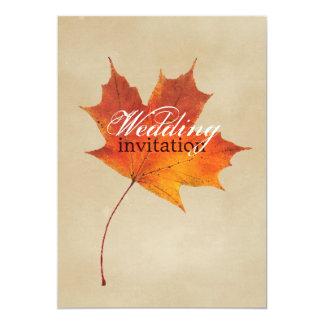 Autumn Orange Fall in Love Leaves Wedding 13 Cm X 18 Cm Invitation Card