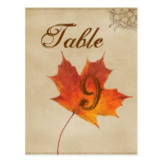 Autumn Orange Fall Leaves Wedding table numbers Postcard