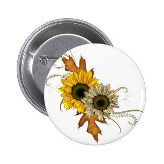 Autumn Sunflowers 6 Cm Round Badge